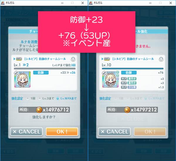 イベント産SSR防御+23→+76(53UP)