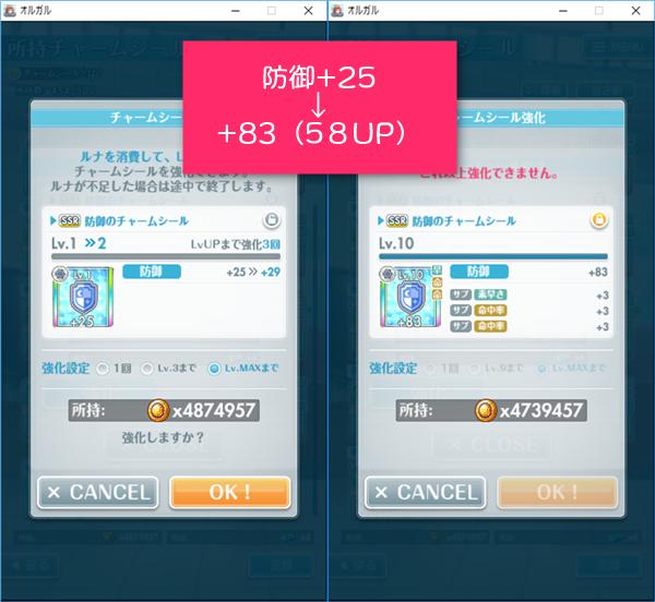防御SSRチャームシール+25の強化後は+83(58UP)