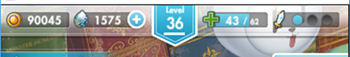 オルガルアプリのルナ・クオーツ・スタミナ・BPの表示画面