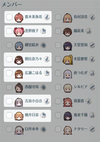 武器種:「ソード」「ハンマー」のメンバー一覧