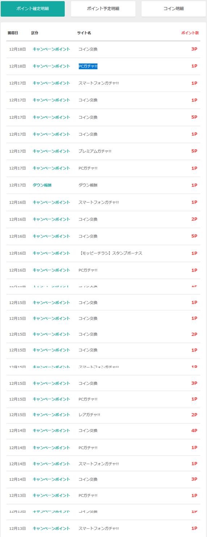 2017年12月のモッピー通帳履歴